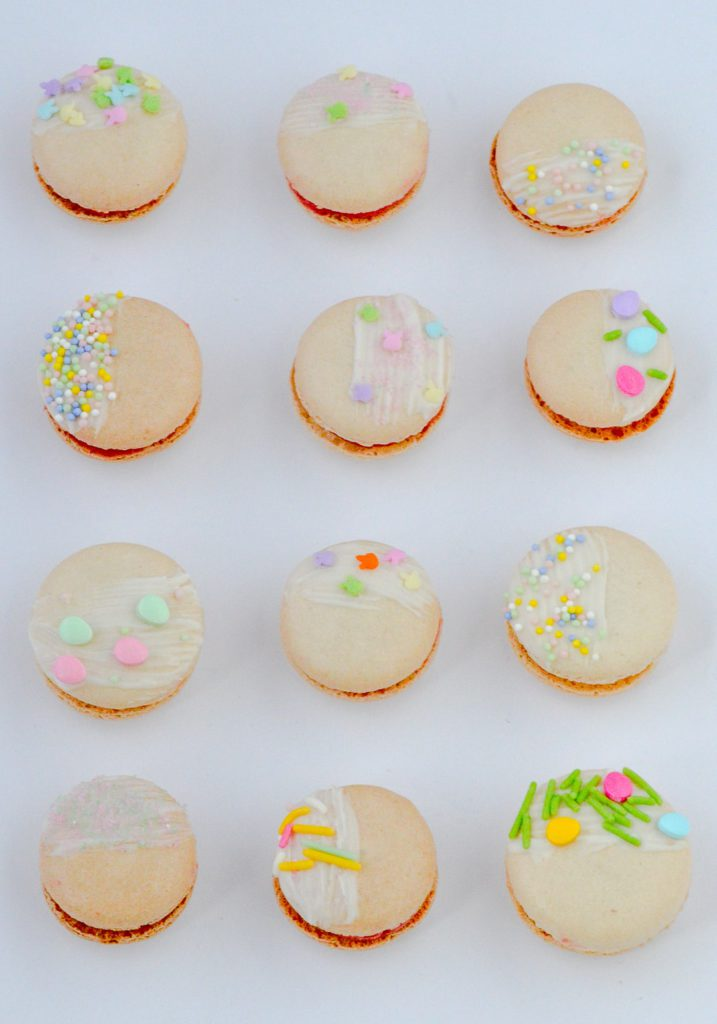 Easter Macarons on white background
