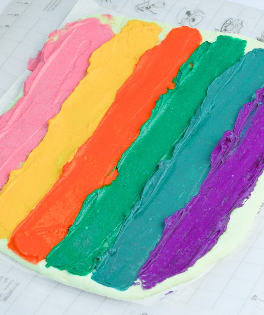 Brightly Colored Braided Challah Cream Cheese