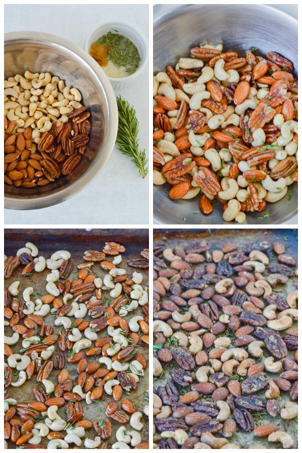 rosemary roasted nuts baking process