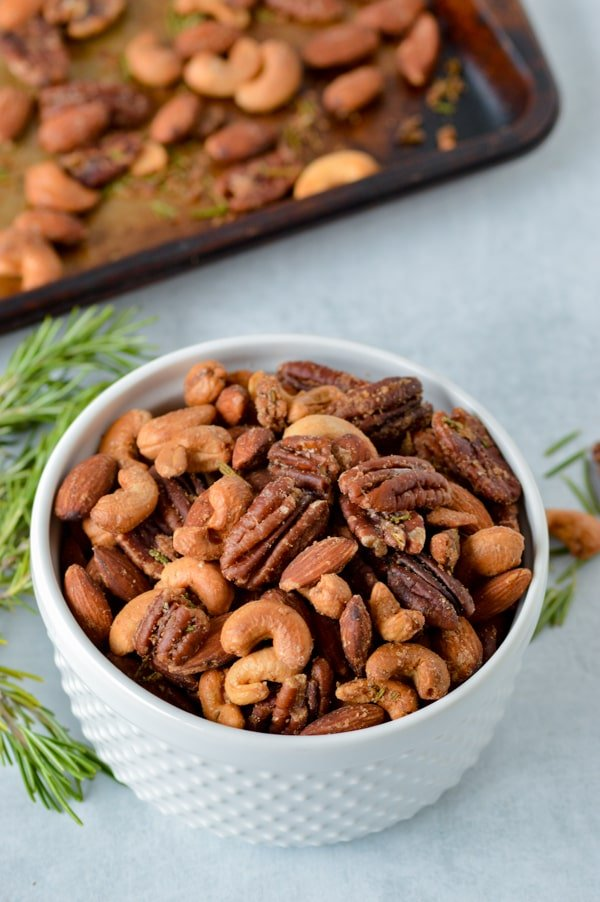 rosemary roasted nuts in bowl