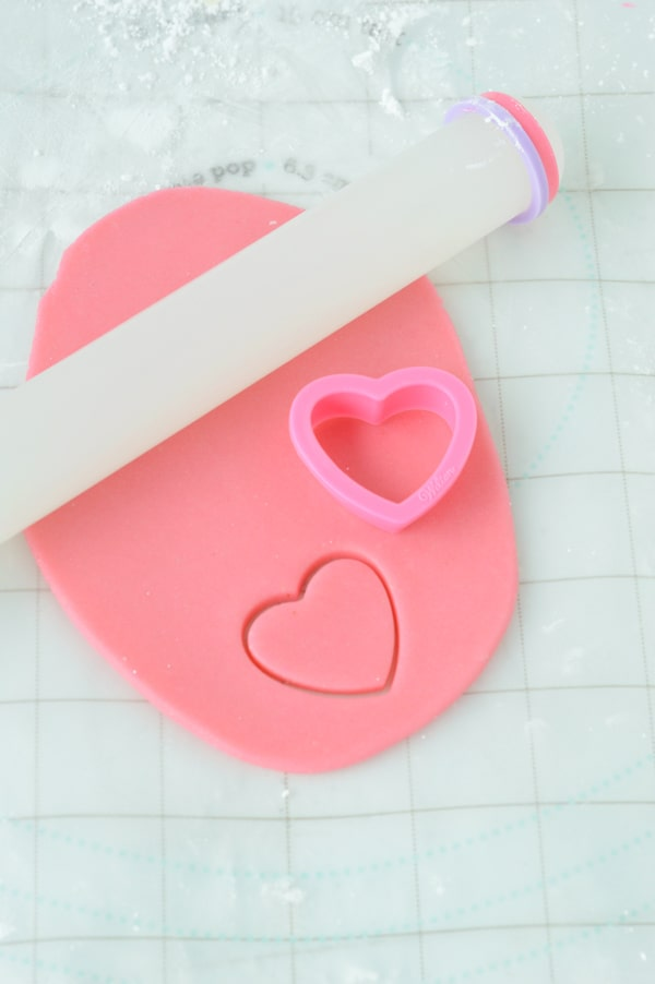 pink marzipan with heart cookie cutters