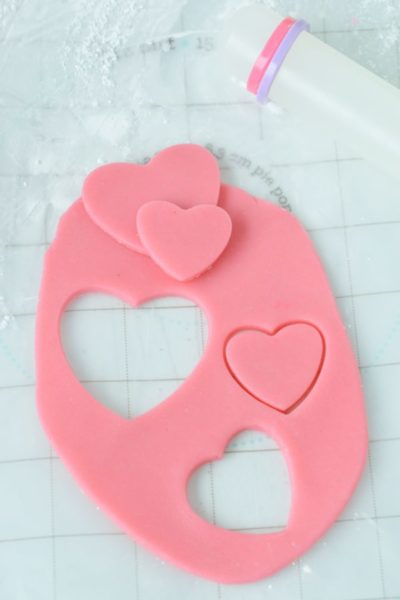 pink marzipan cut out in hearts