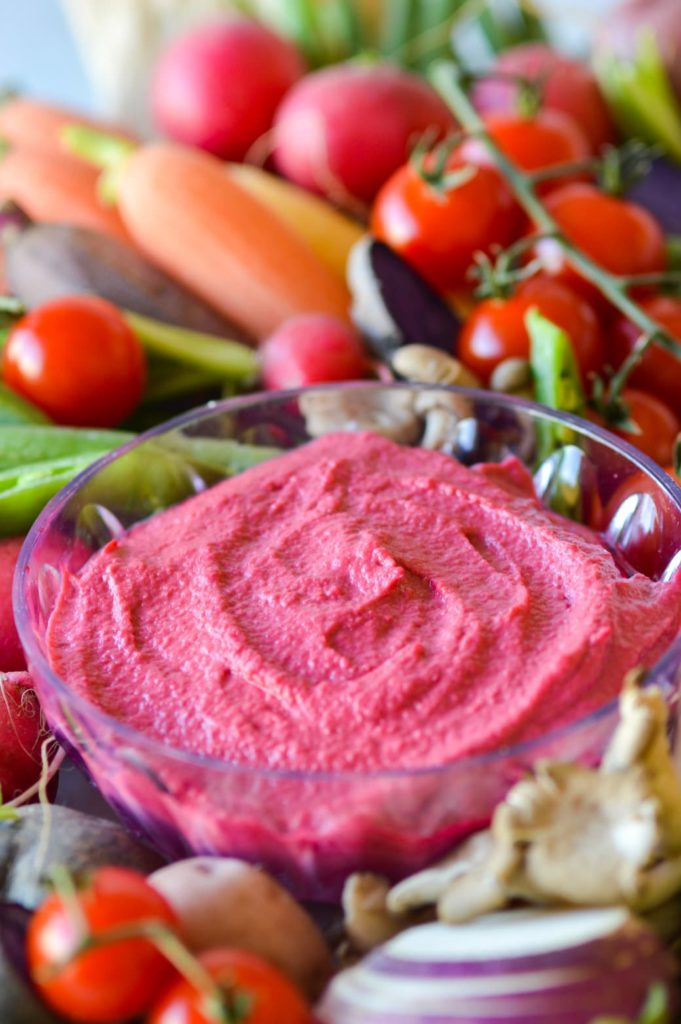 Roasted garlic beet dip with vegetables