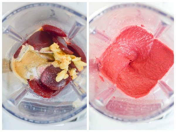 roasted garlic beet dip before after in blender