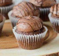 chocolate buttercream on chocolate cupcakes
