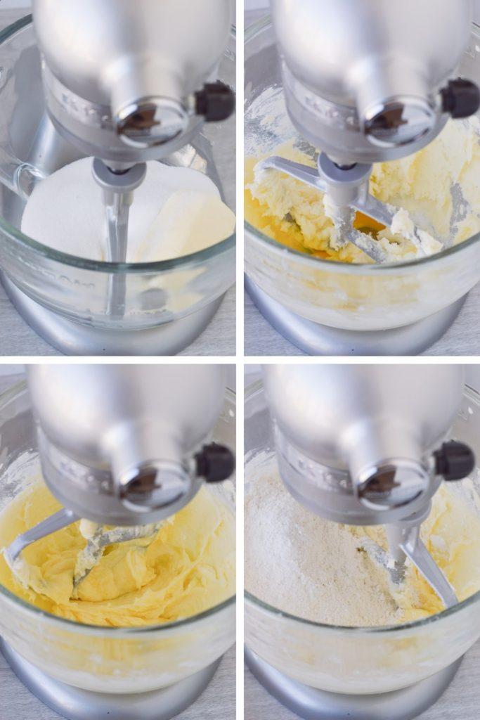 process of making sugar cookies - dough in standing mixer