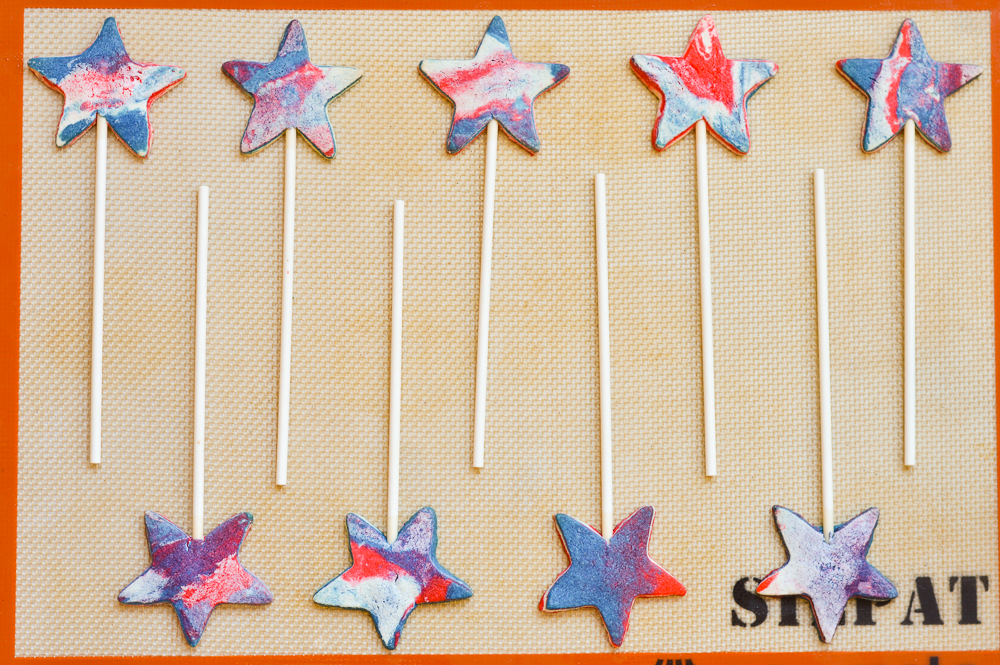 Red White and Blue Sugar Cookie Pops