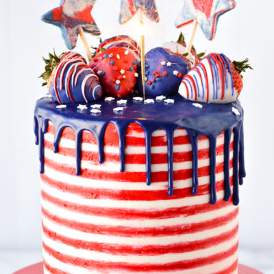 4th of july with cake sparkler topper
