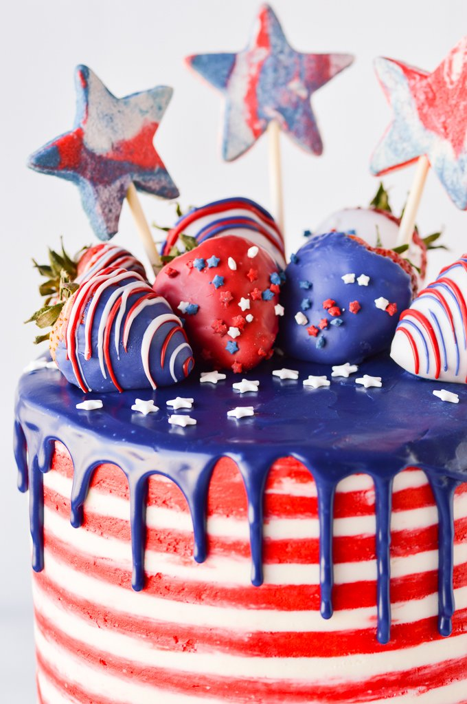 4th of july cake cup close