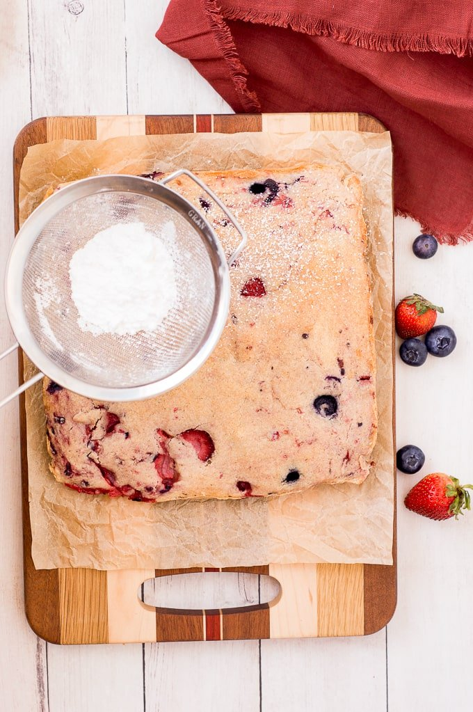 mixed berries cookies with powdered sugar