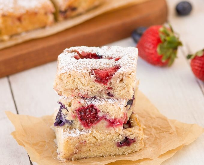 stack of 3 berry cookie bars