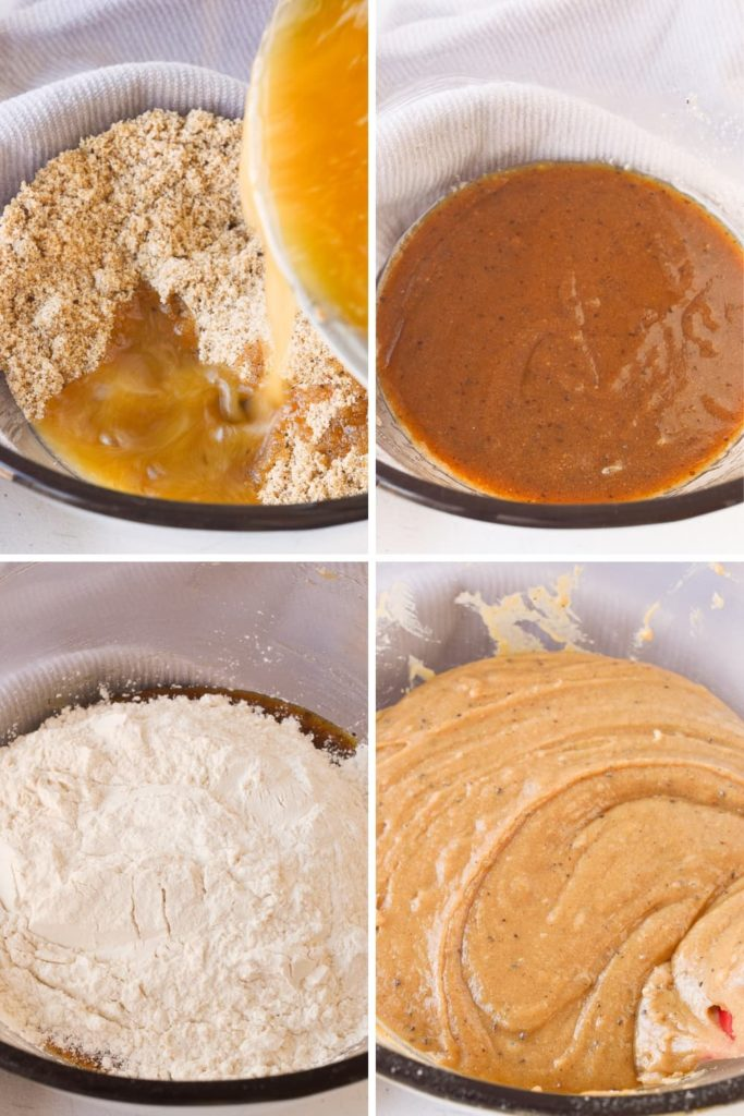 process of mixing brown butter cookie dough