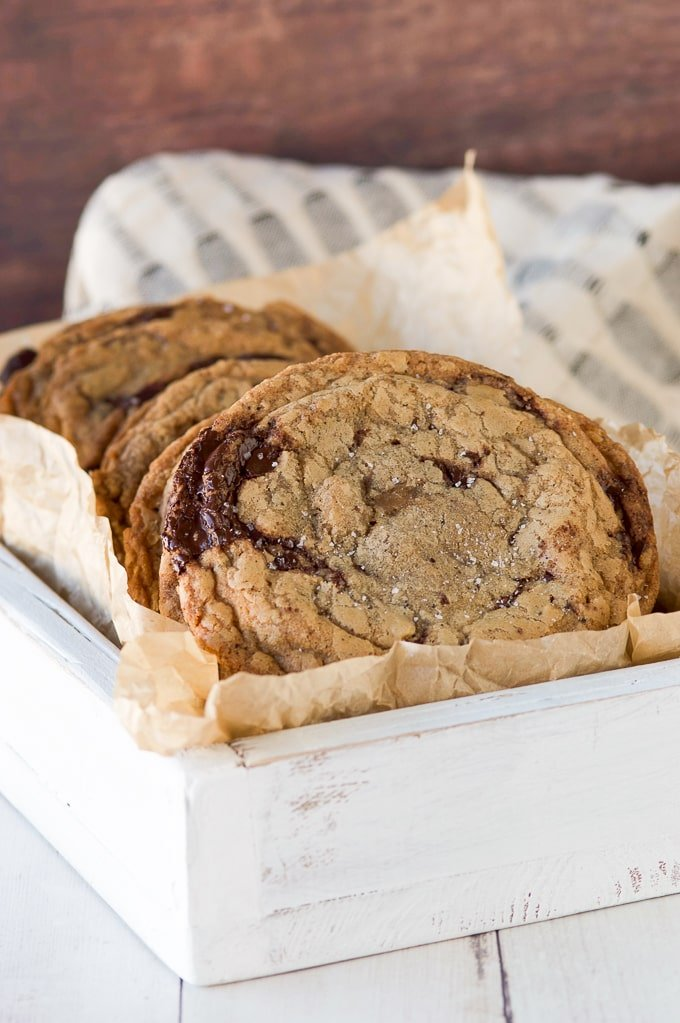 Brown Butter Toffee Chocolate Chip Cookies in white serving box
