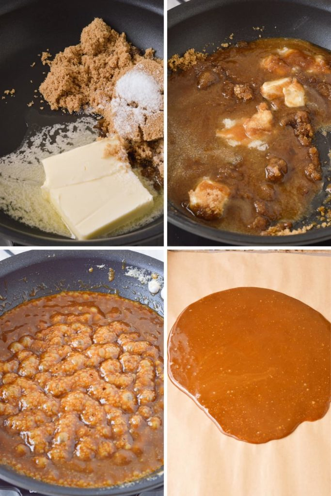 process of melting butter and sugar for homemade toffee