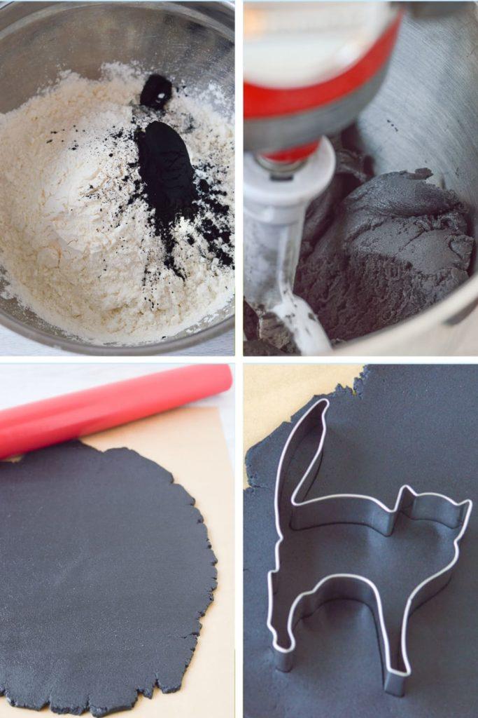 process of making black sugar cookie dough
