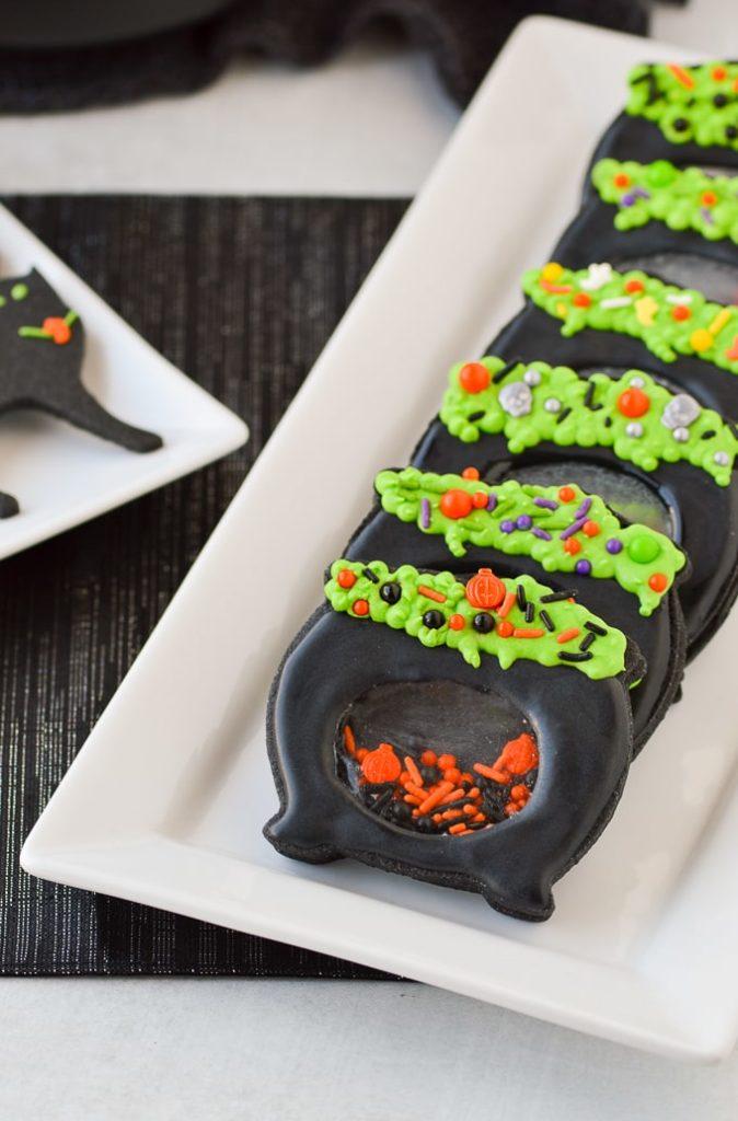 halloween witches cauldron sugar cookies with isomalt