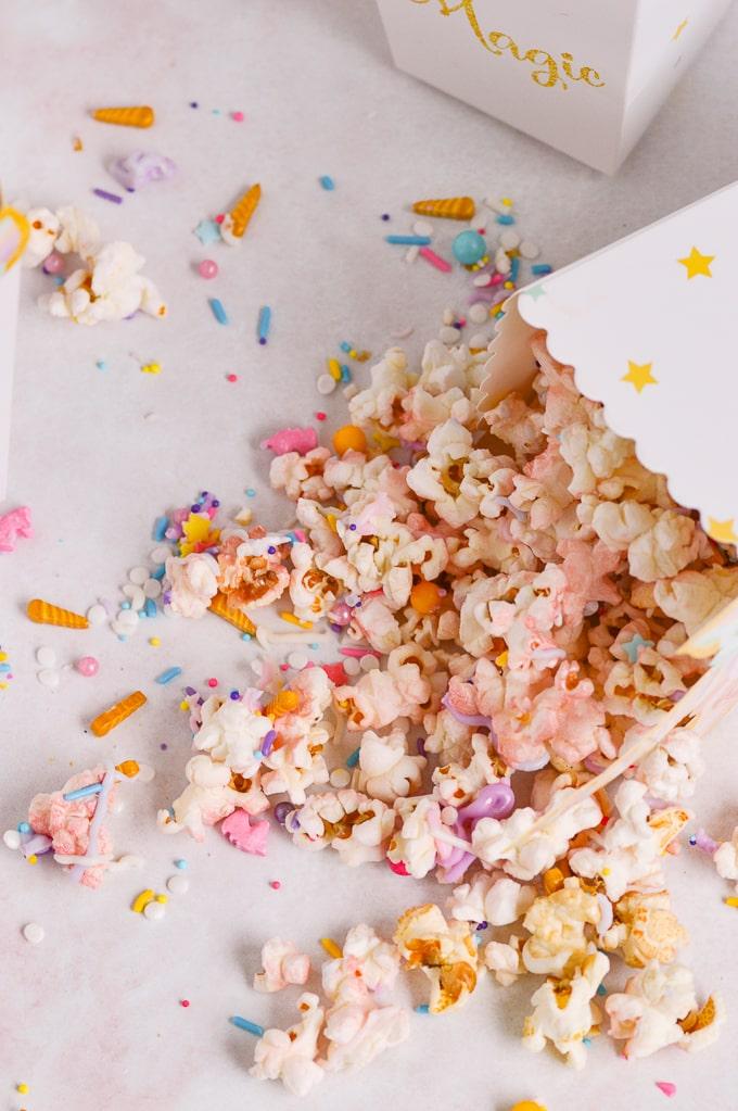 unicorn popcorn spilt from unicorn popcorn holde