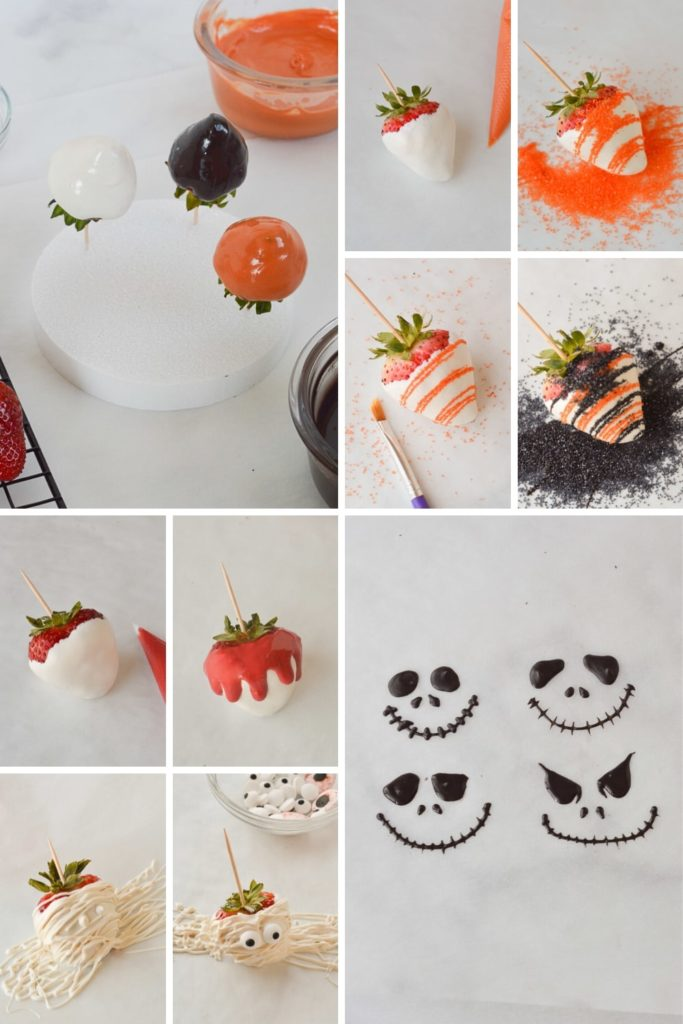 process of making halloween chocolate covered strawberries