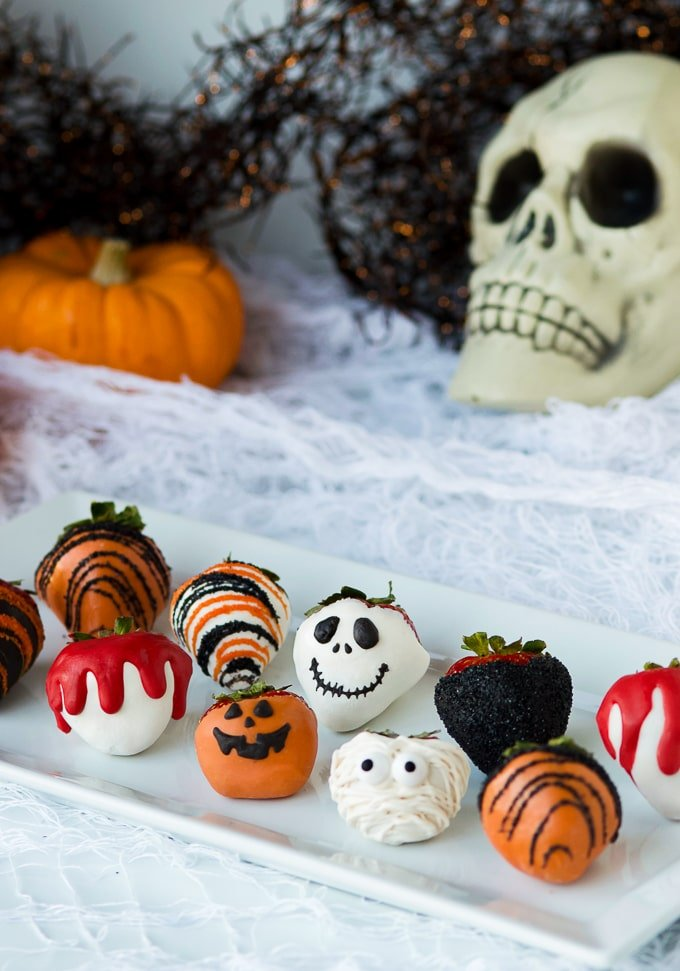 Halloween Chocolate Covered Strawberries on plate