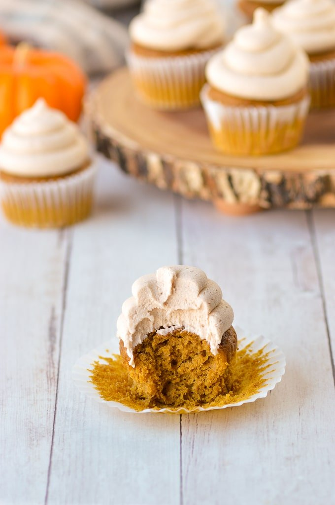 Pumpkin spice cupcake and frosting with bite take out