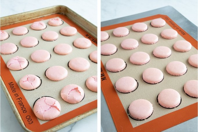 cracked versus non cracked macaron shells