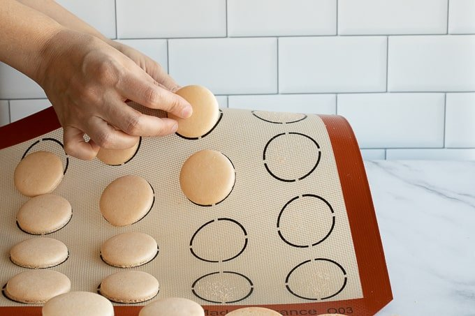 removing white french macaron shells from silicone baking mat