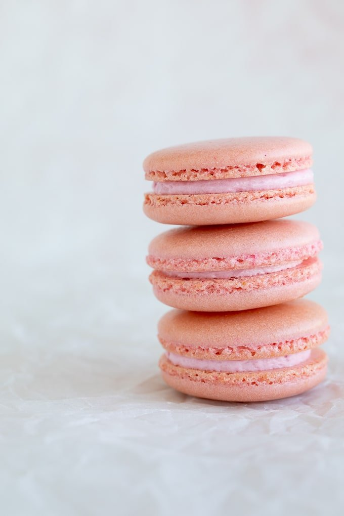 pink french macarons up close