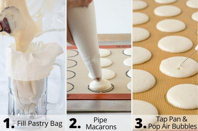process of piping french macarons