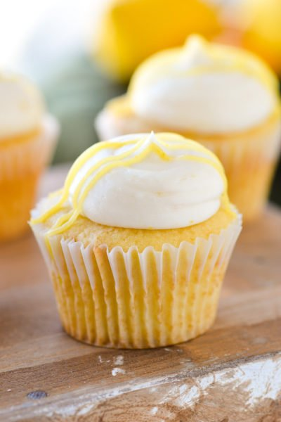 lemon buttercream frosting on cupcake close up